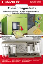 Fliesenmagnetsatz Fliesenmagnete höhenverstellbar 8teilig