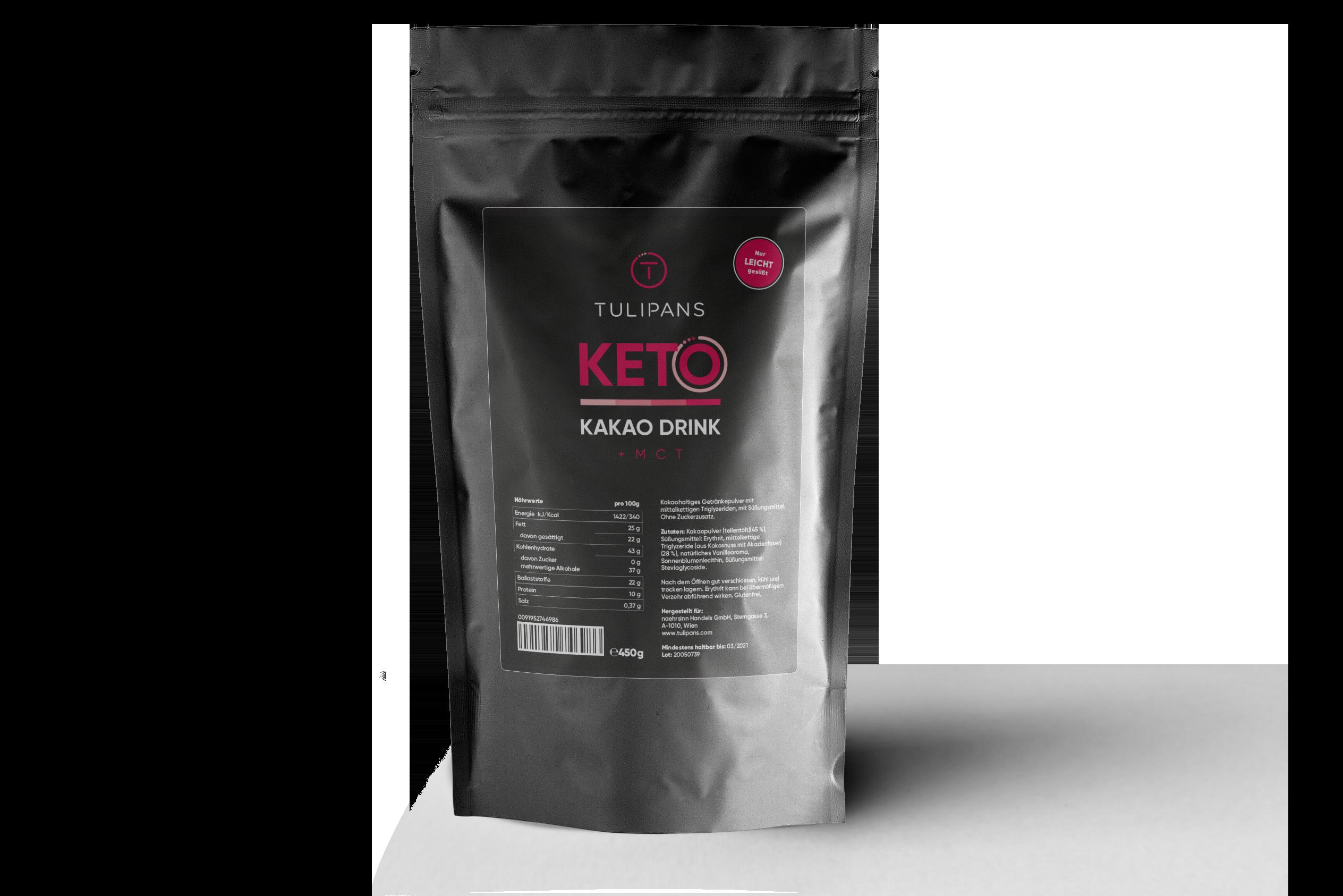 KETO KAKAO DRINK + MCT (Vegan) 450g Beutel