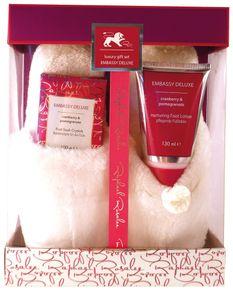 Embassy Deluxe No. 183, Cranberry & Granatapfel, Fußpflege Geschenkset (3-teilig)