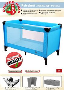 Reisebett Holiday 805 von UNITED-KIDS, Design Light Blue – Bild 6