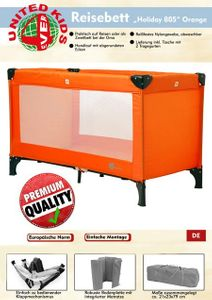 Reisebett Holiday 805 von UNITED-KIDS, Design Orange – Bild 2