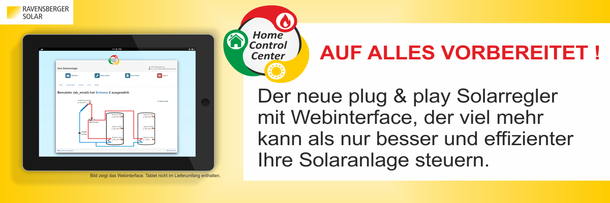 Solarregler Home Control Center, Plug & Play mit Webinterface