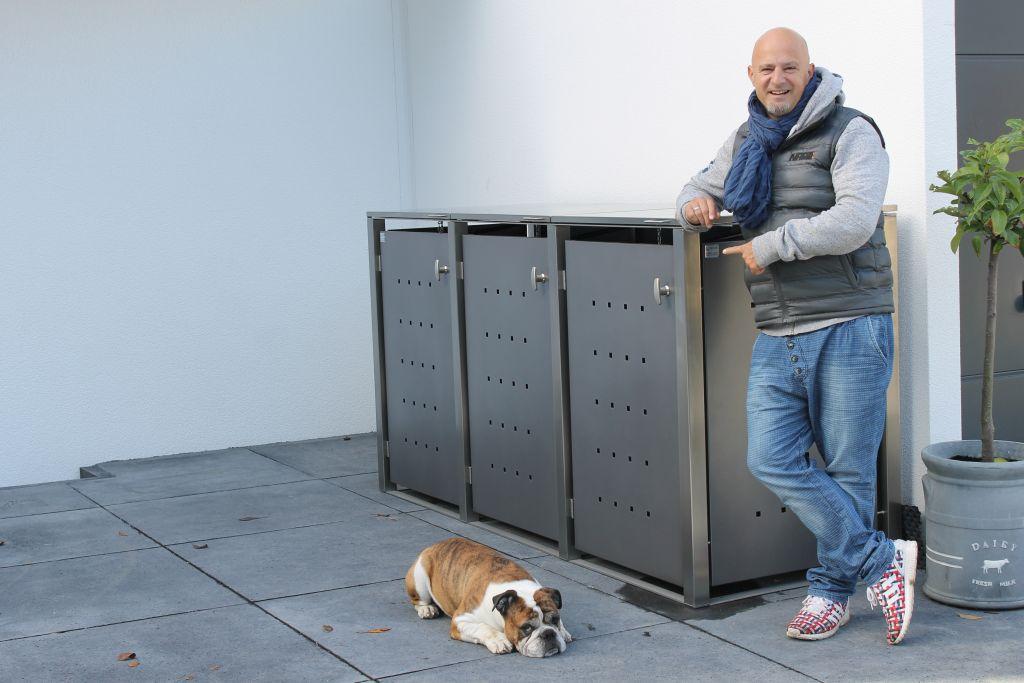 3er Mülltonnenbox Edelstahl anthrazit 120 Liter - mit Klappdach