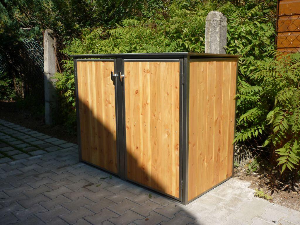 2er Mülltonnenbox Holz 240 Liter - Lärchen / Douglasien Holz in Edelstahlrahmen