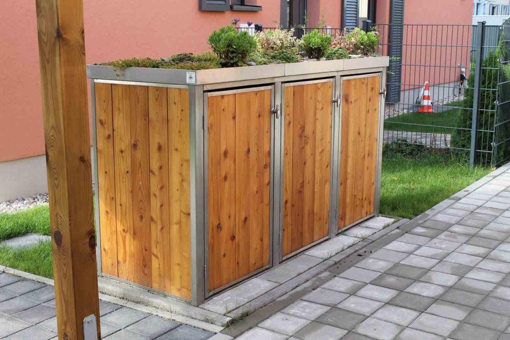 3er Mülltonnenbox Holz 120 Liter - Lärchen / Douglasien Holz in Edelstahlrahmen