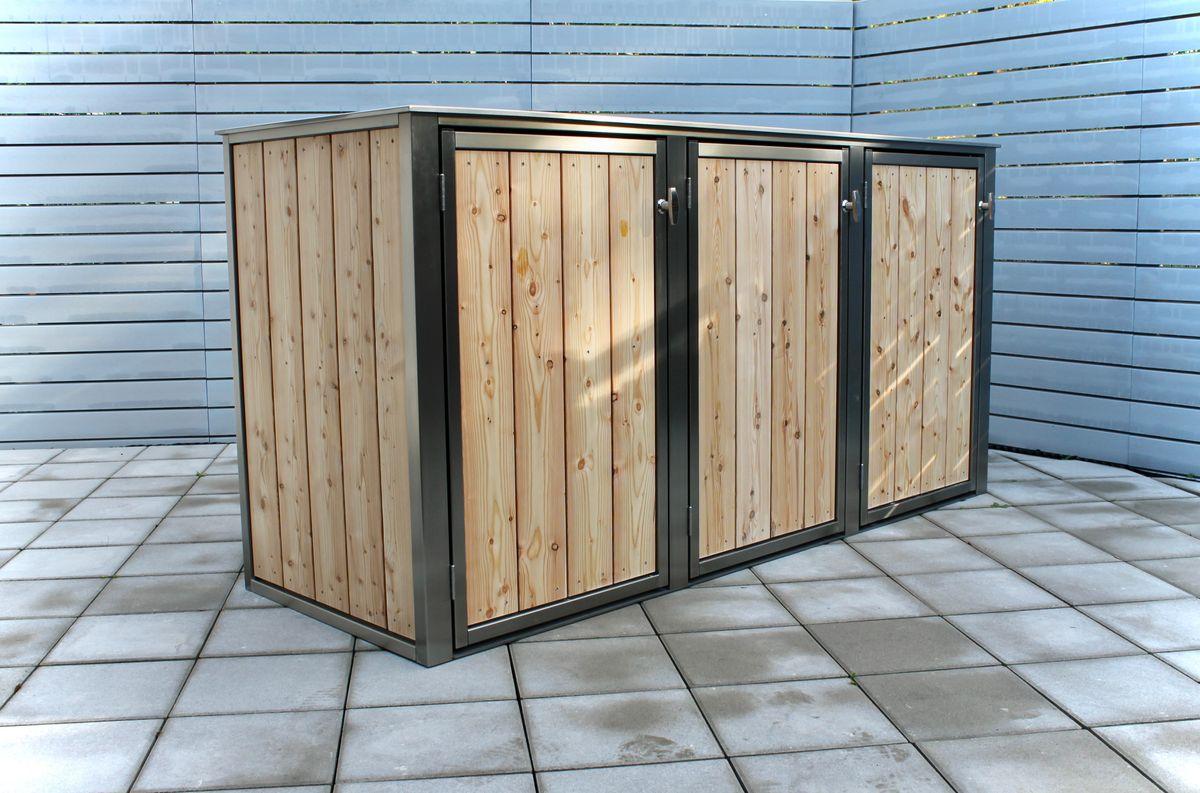 3er Mülltonnenbox Holz 240 Liter - Lärchen / Douglasien Holz in Edelstahlrahmen