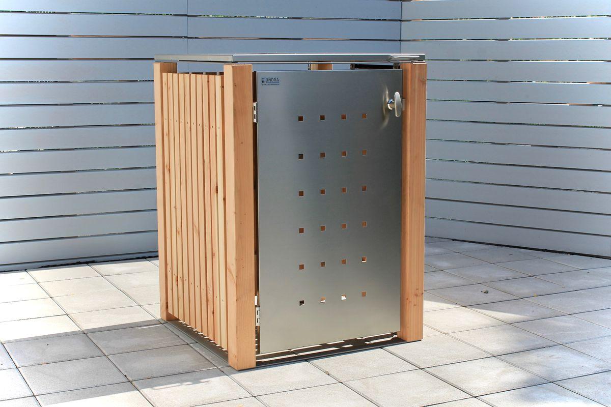 1er Mülltonnenbox Holz 120 Liter - mit Lärchen / Douglasien Holz verkleidet