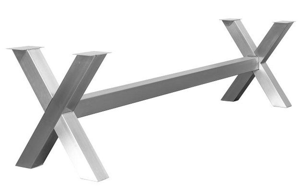 Edelstahl Tischgestell gebürstet 2,50 Meter X-Form