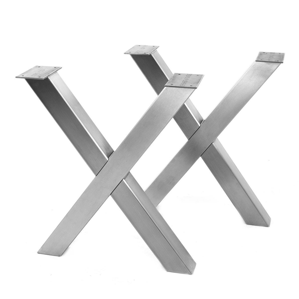 Edelstahl Tischbeine gebürstet X-Form 100 x 100 mm