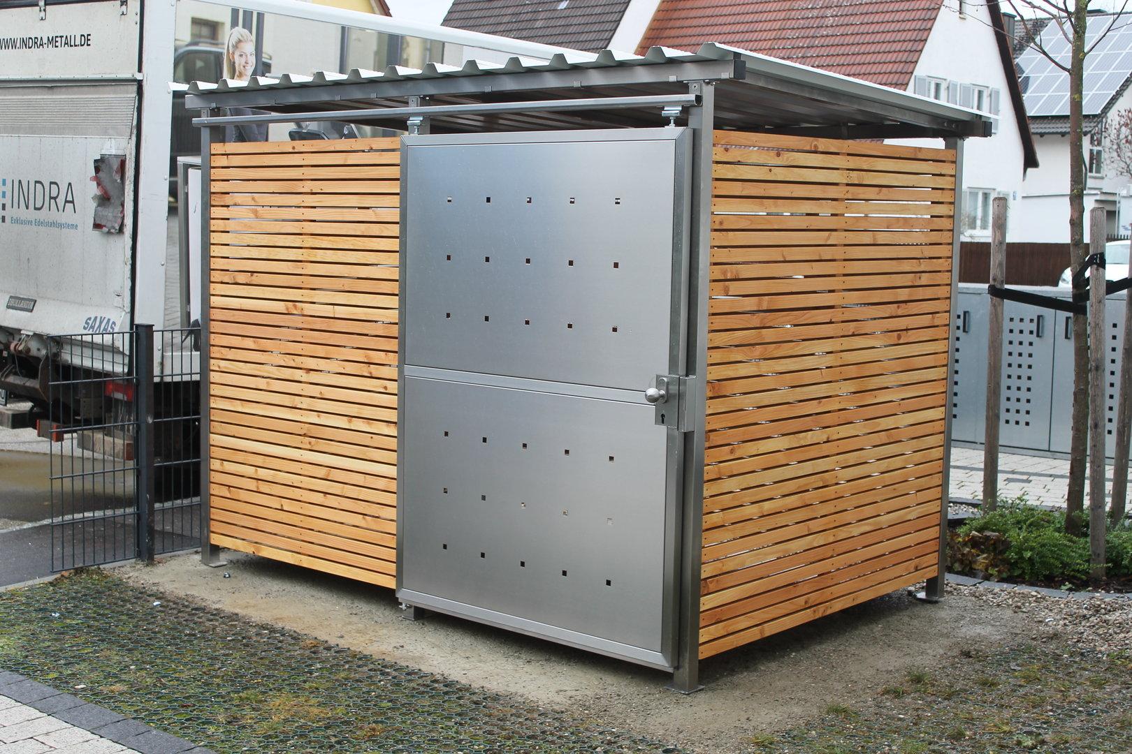 m lltonnenhaus gr e 1 mit l rchen douglasien holz verkleidet m lltonnenboxen direkt vom. Black Bedroom Furniture Sets. Home Design Ideas