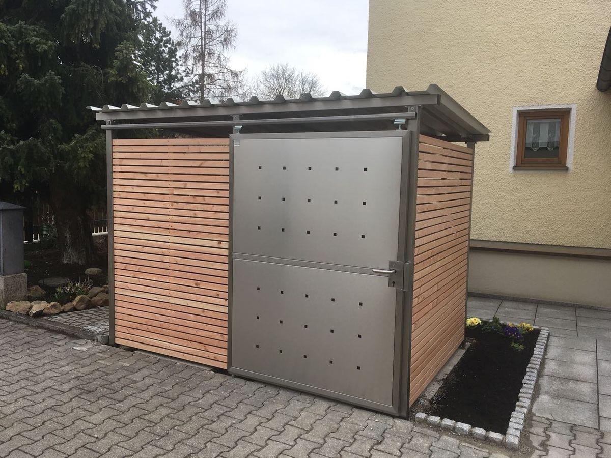 Mülltonnenhaus Größe 1 mit Lärchen / Douglasien Holz verkleidet