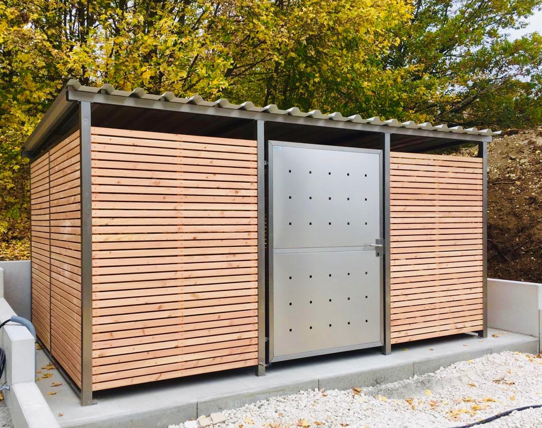Extrem Mülltonnenhaus Größe 5 mit Lärchen / Douglasien Holz verkleidet KO15