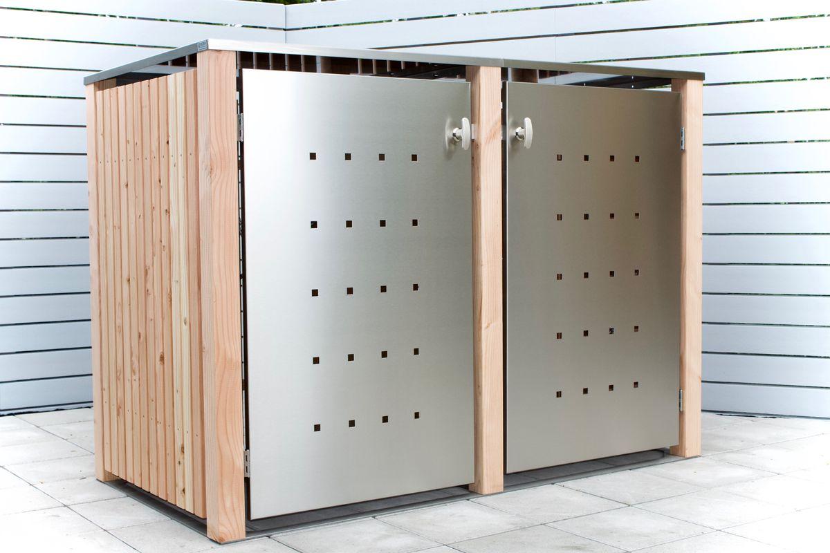 2er Mülltonnenbox Holz 240 Liter - mit Lärchen / Douglasien Holz verkleidet