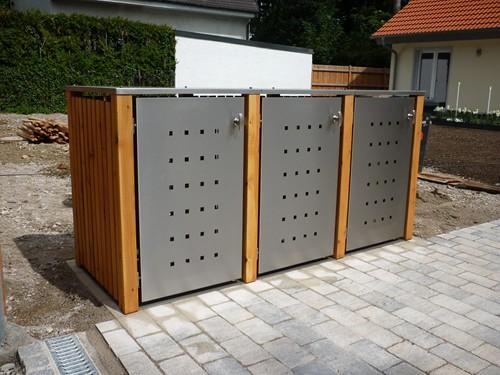 3er Mülltonnenbox Holz 240 Liter - mit Lärchen / Douglasien Holz verkleidet