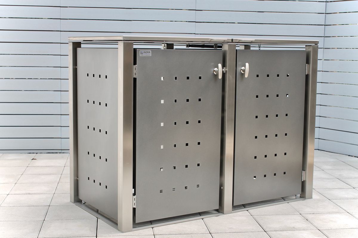 2er Mülltonnenbox Edelstahl pulverbeschichtet anthrazit 120 Liter