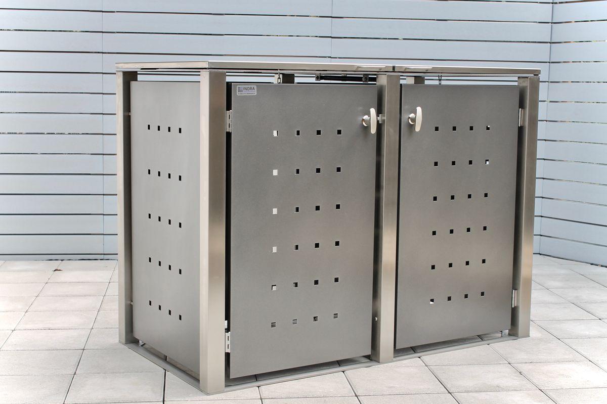 2er Mülltonnenbox Edelstahl pulverbeschichtet anthrazit 240 Liter