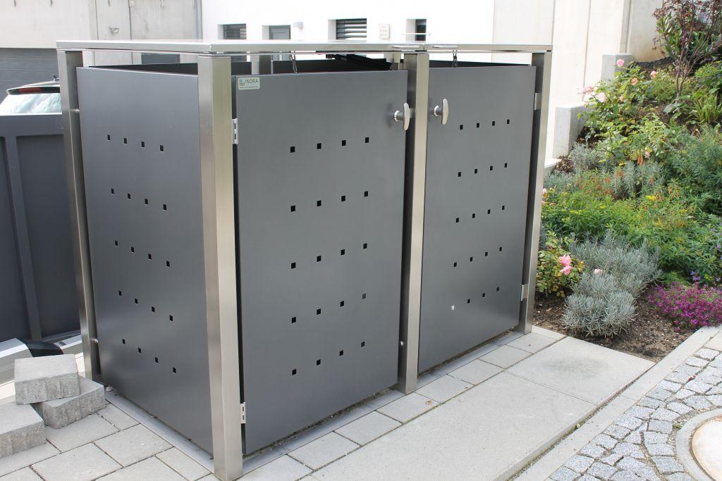 2er Mülltonnenbox Edelstahl anthrazit 240 Liter - mit Klappdach