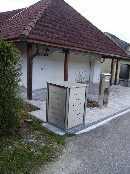 1er Mülltonnenbox Edelstahl 120 Liter - mit Rundpfosten