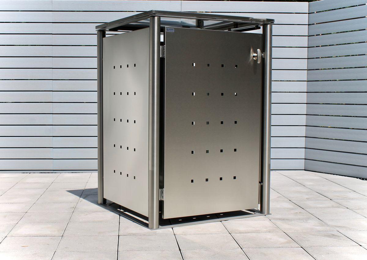 1er Mülltonnenbox Edelstahl 240 Liter - mit Rundpfosten