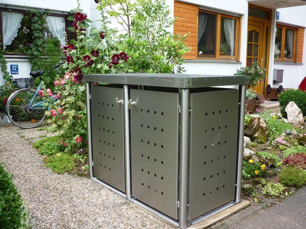 2er Mülltonnenbox Edelstahl 120 Liter - mit Rundpfosten