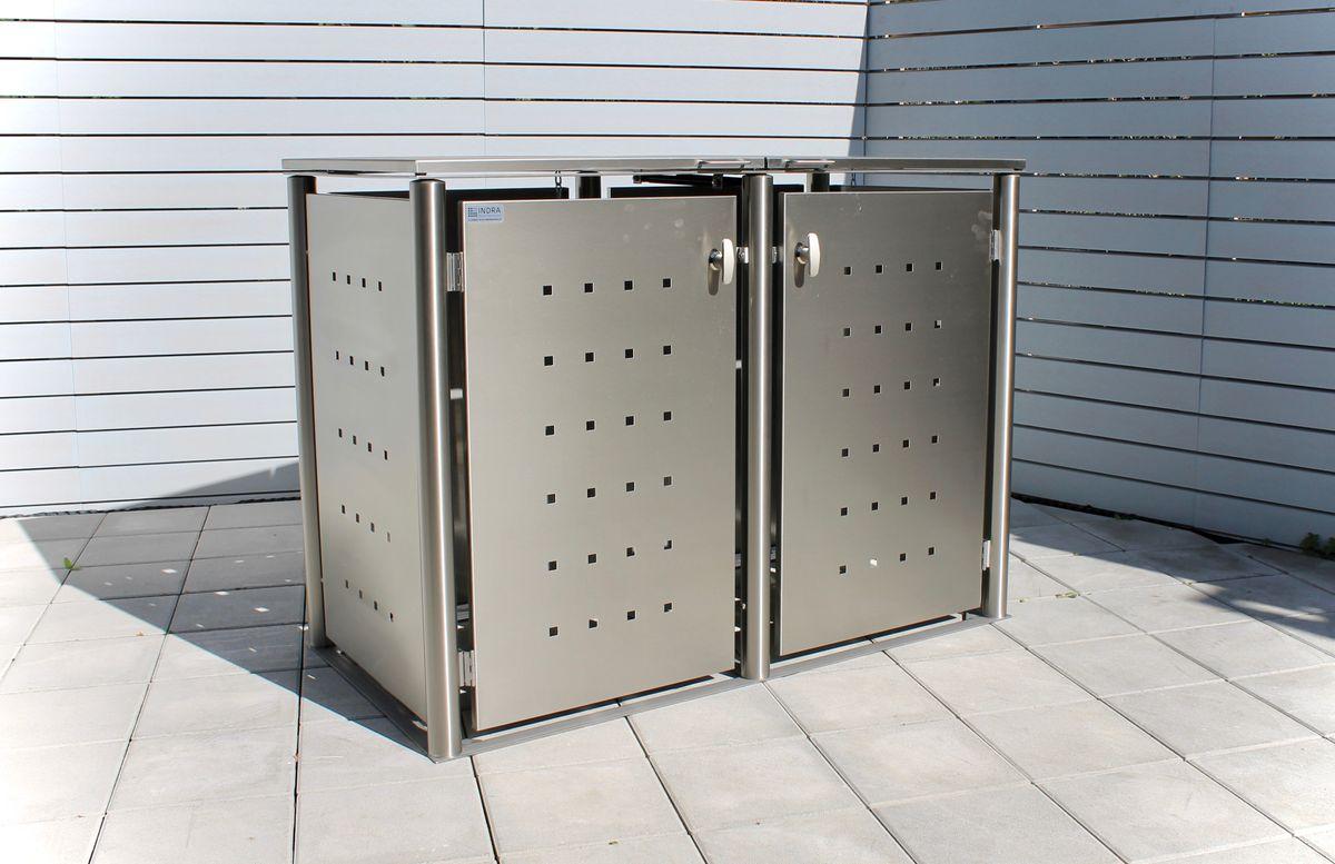 2er Mülltonnenbox Edelstahl 240 Liter - mit Rundpfosten