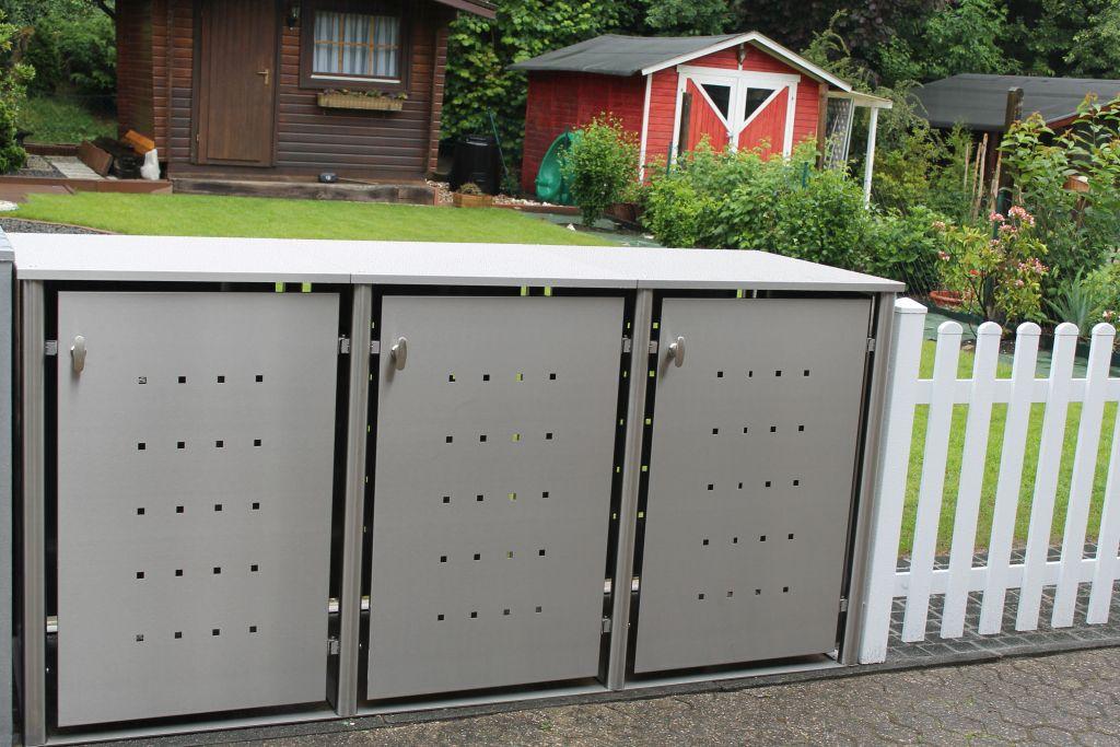 3er Mülltonnenbox Edelstahl 240 Liter - mit Rundpfosten