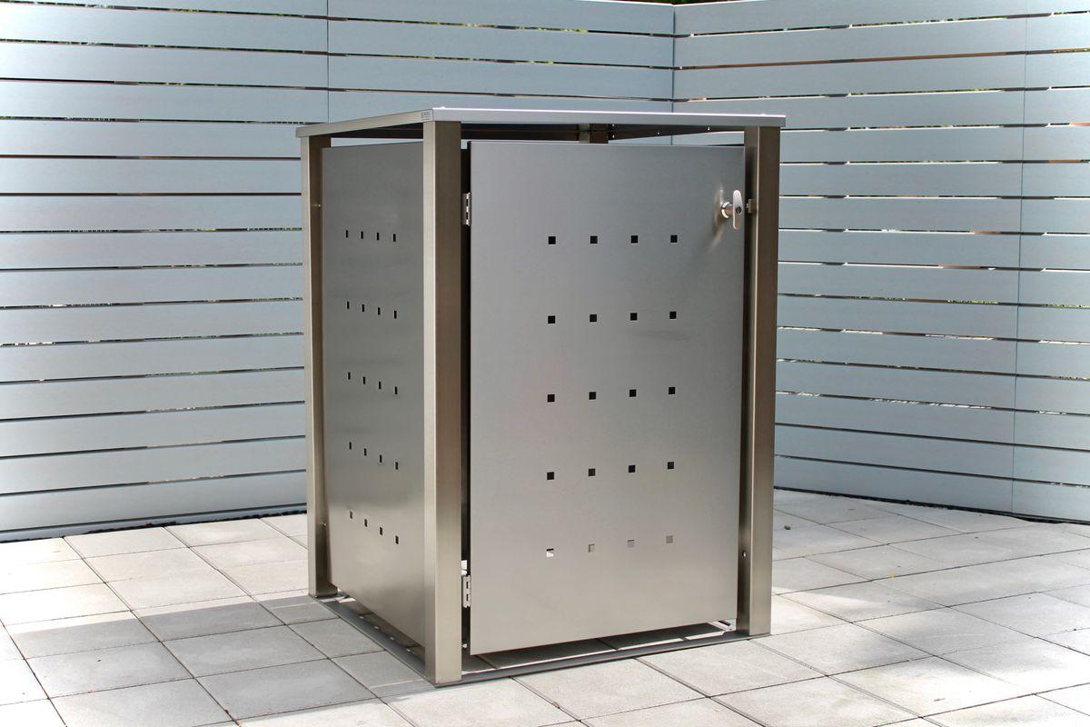 1er Mülltonnenbox Edelstahl 120 Liter - mit Vierkantpfosten