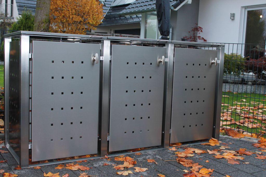 3er Mülltonnenbox Edelstahl 240 Liter - mit Vierkantpfosten