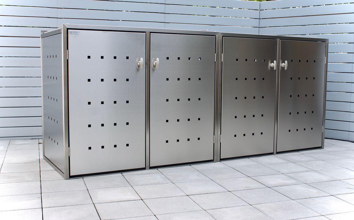 4er Mülltonnenbox Edelstahl 240 Liter - Kombi Box