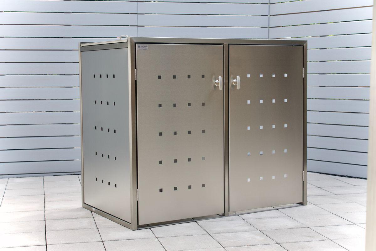 2er Mülltonnenbox Edelstahl 240 Liter - Kombi Box