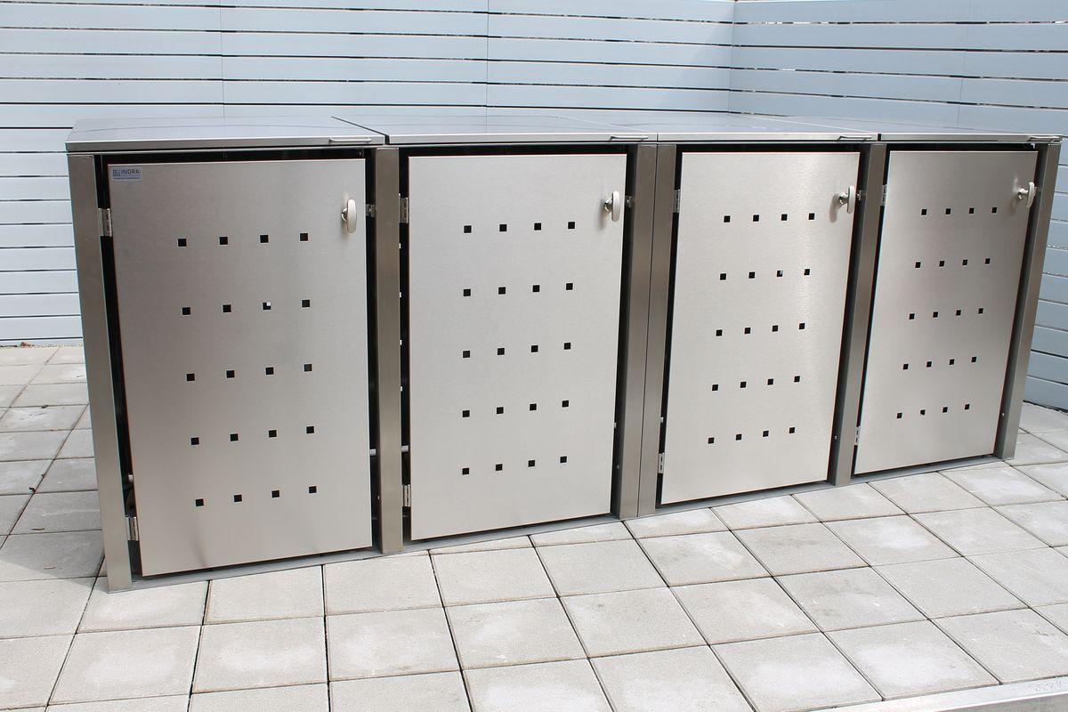 4er Müllbox Edelstahl für 120 und 240 Liter Tonnen MultiMax