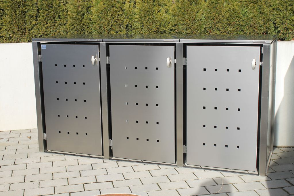 3er m llbox edelstahl f r 120 und 240 liter tonnen. Black Bedroom Furniture Sets. Home Design Ideas