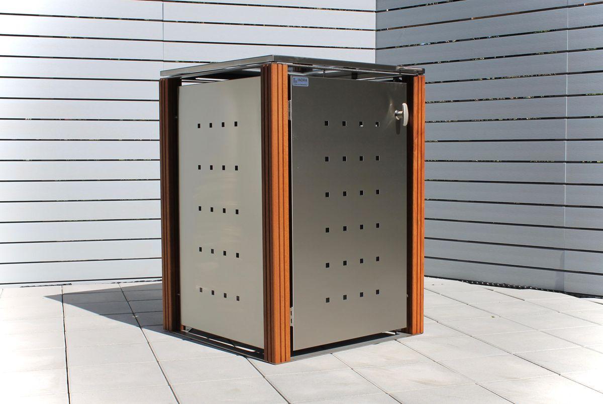 1er Mülltonnenbox Edelstahl 120 Liter - mit Bangkirai Holzpfosten