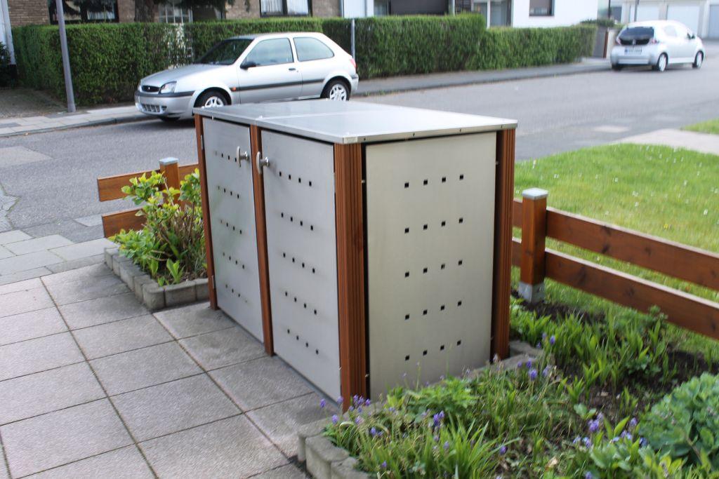 2er Mülltonnenbox Edelstahl 120 Liter mit Bangkirai Holzpfosten