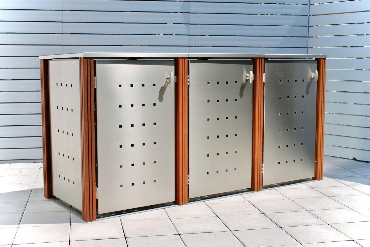 3er Mülltonnenbox Edelstahl 120 Liter - mit Bangkirai Holzpfosten