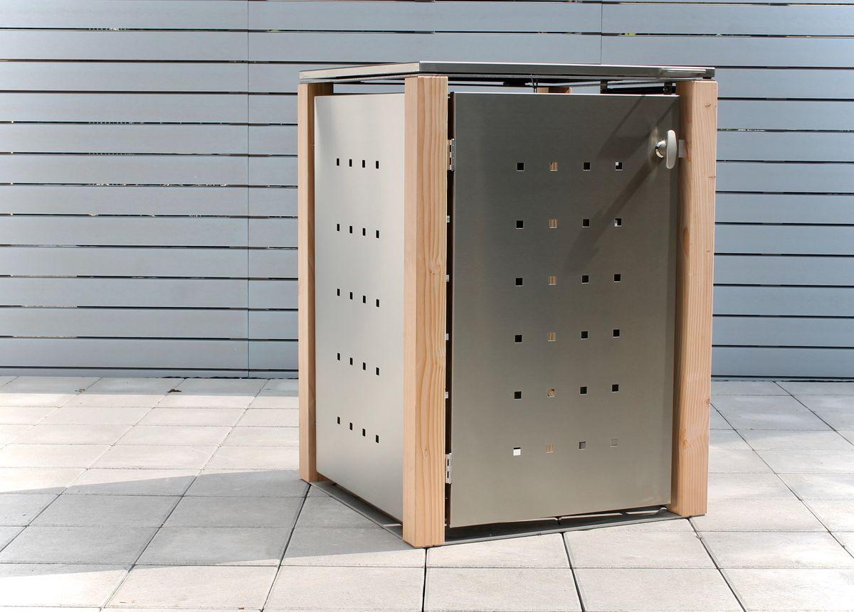 1er Mülltonnenbox Edelstahl 120 Liter - mit Lärchen / Douglasien Holzpfosten