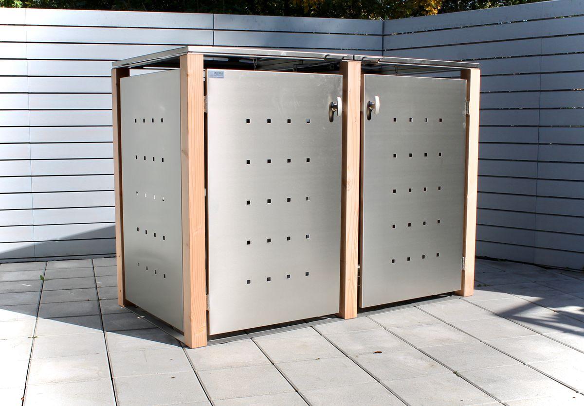 2er Mülltonnenbox Edelstahl 120 Liter - mit Lärchen / Douglasien Holzpfosten