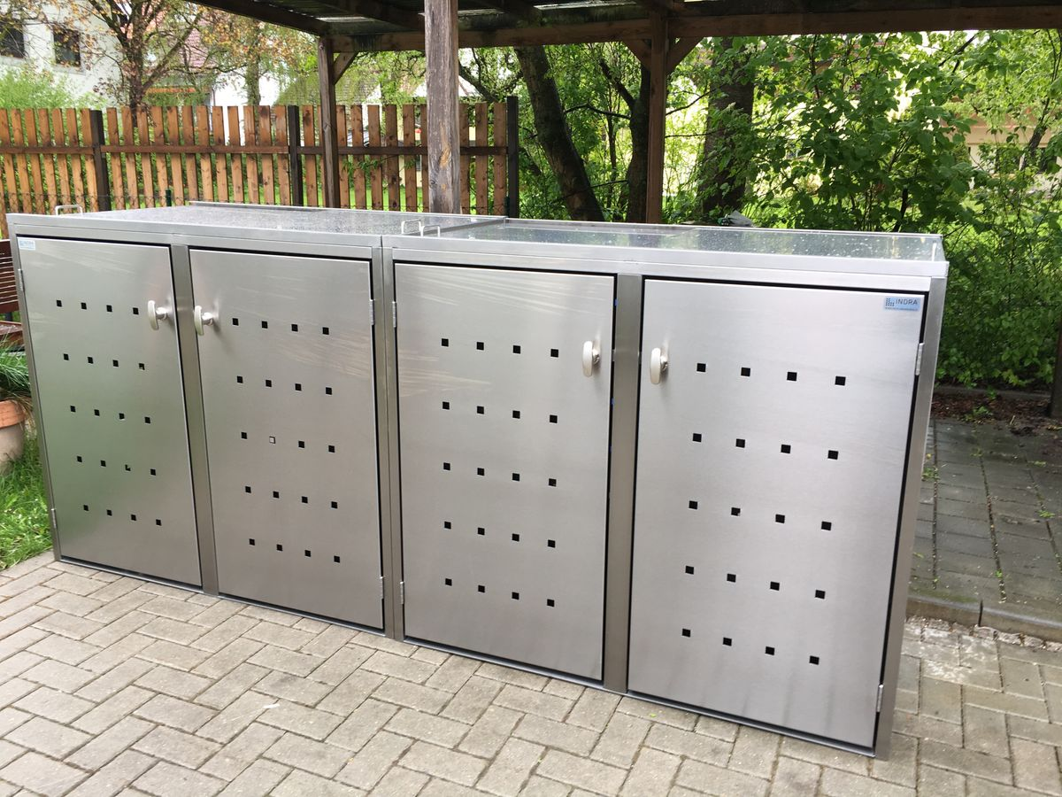4er Mülltonnenbox Edelstahl für 4 Stück 120 Liter Tonnen Kombi Box