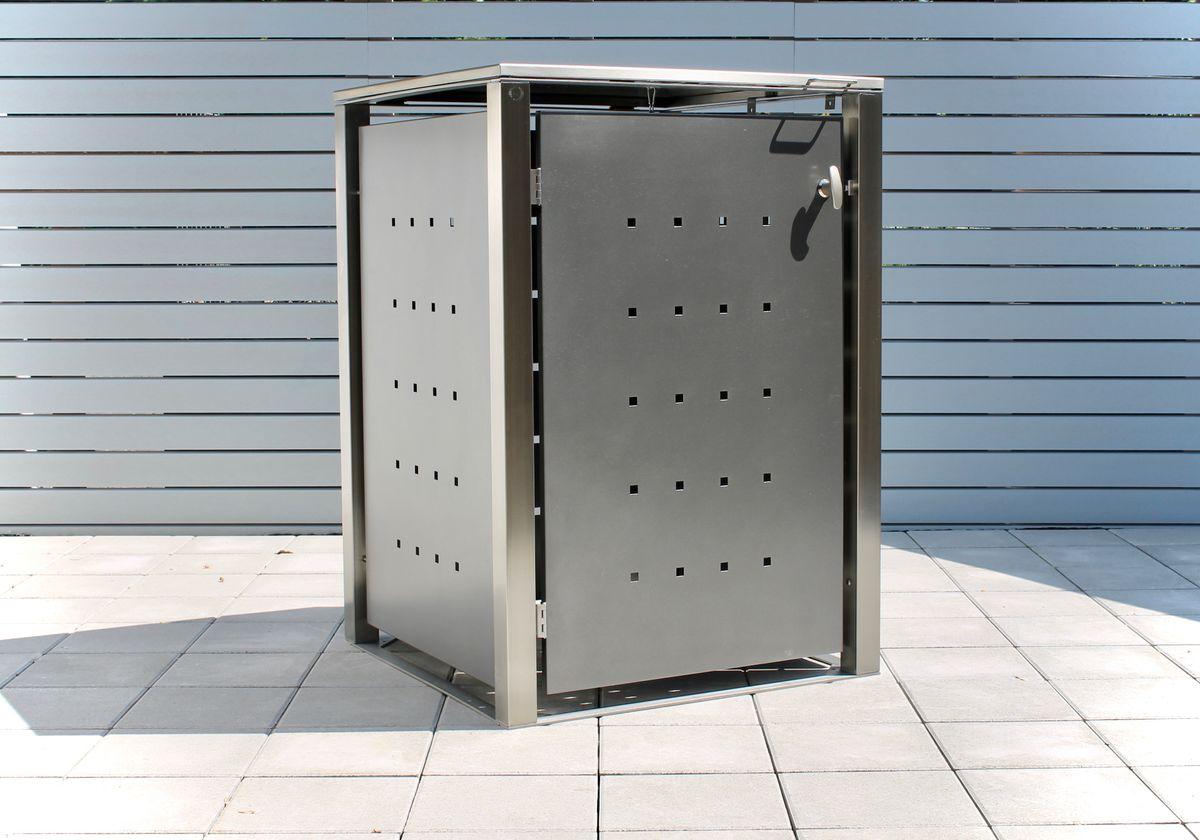 1er Mülltonnenbox Edelstahl pulverbeschichtet anthrazit 120 Liter