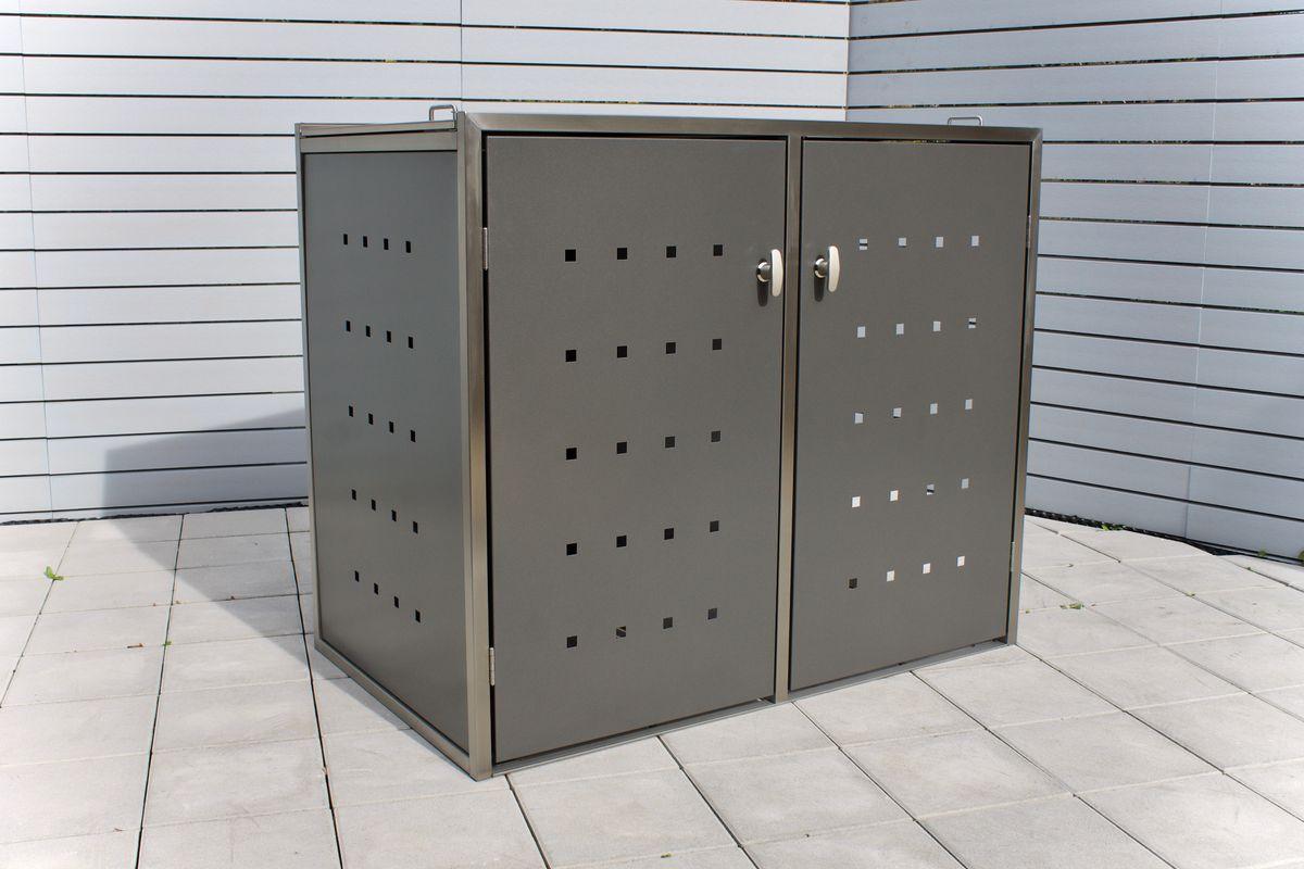 2er Mülltonnenbox Edelstahl 120 Liter - Kombi Box Pulverbeschichtet Anthrazit ( DB 703 )