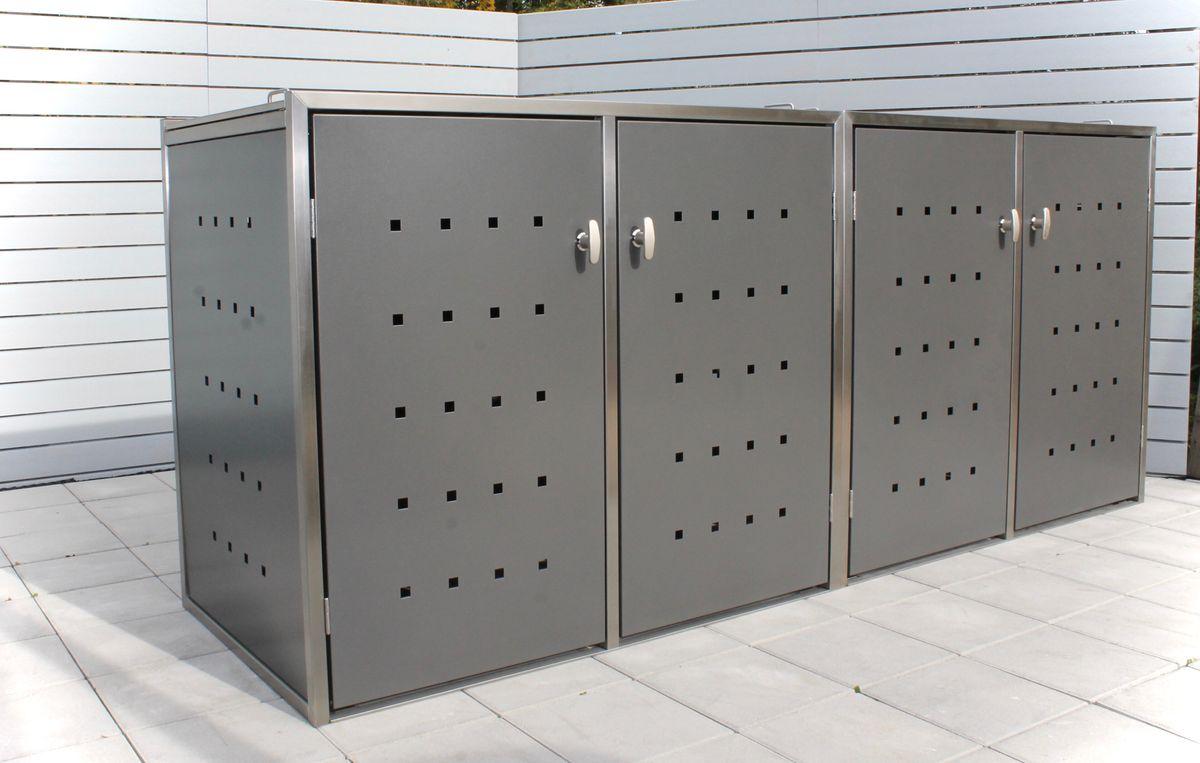 4er Mülltonnenbox Edelstahl 240 Liter - Kombi Box Pulverbeschichtet Anthrazit (DB 703)