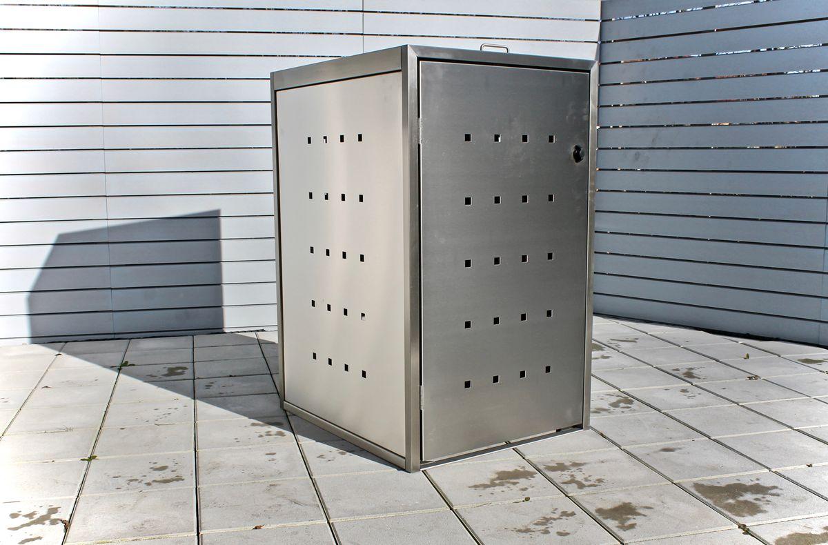 1er Mülltonnenbox ECO-Max 120 Liter (Edelstahl, Anthrazit, RAL-Farbe)