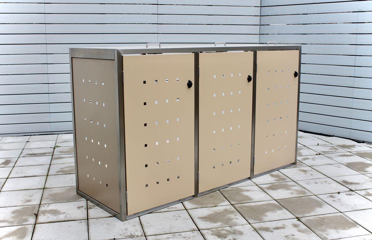 3er Mülltonnenbox ECO-Max 120 Liter ( Edelstahl, Anthrazit, RAL-Farbe )