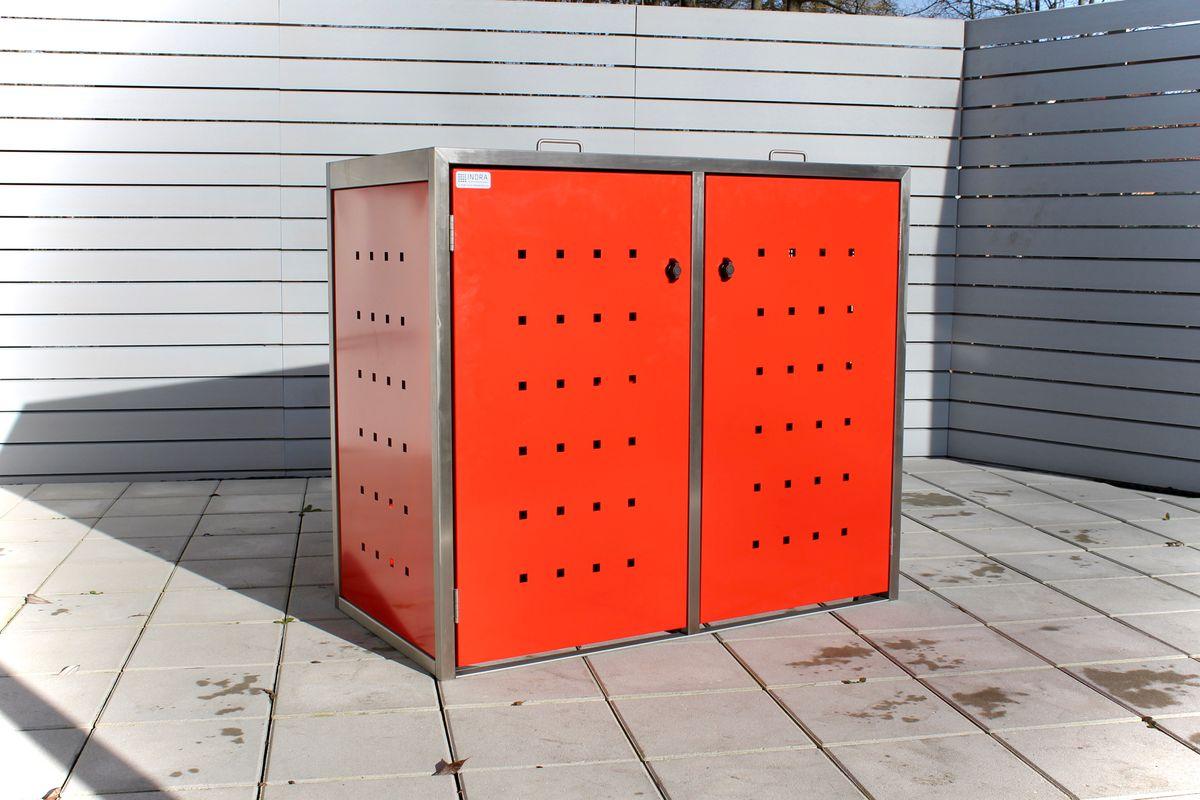 2er Mülltonnenbox ECO-Max 120 Liter (Edelstahl, Anthrazit, RAL-Farbe)