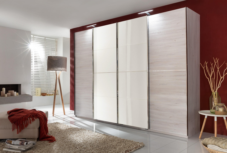 schwebet renschrank br ssel 313 cm wei eiche dekor glas wei wohnwelten schlafzimmer m bel. Black Bedroom Furniture Sets. Home Design Ideas