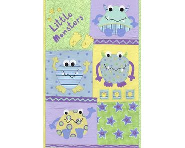 Kinder Designpanel Tapete 9424-51  Kleine Monster grün,gelb,blau