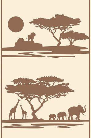 Afrika  Designpanel Tapete 9422-62 942262  Elefant Loewe Giraffe braun