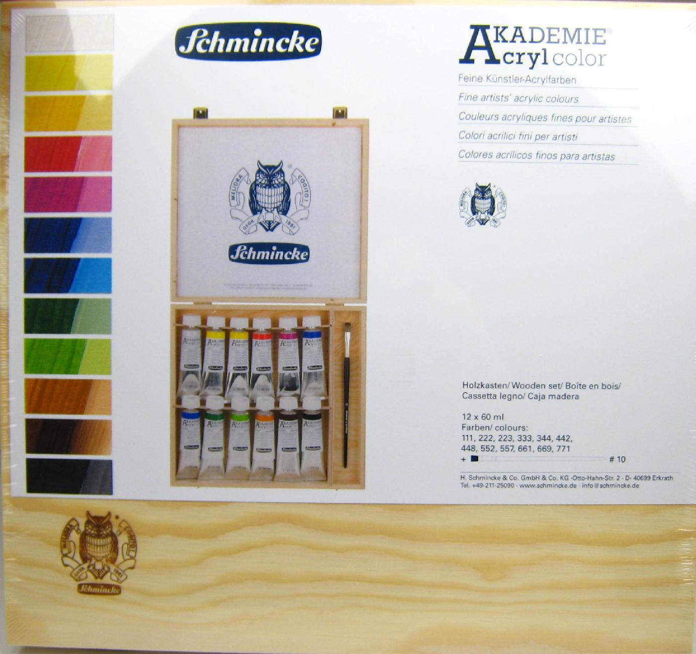 AKADEMIE Acryl Malkästen Holzkasten, 12 x 60 ml Schmincke 76 014 097