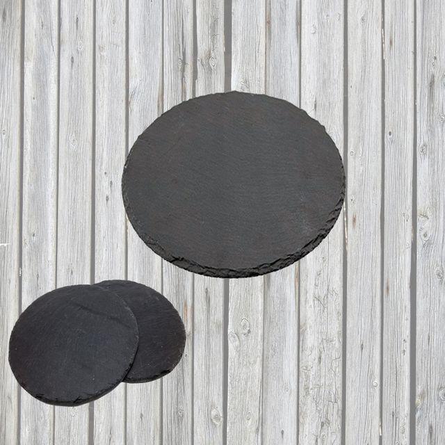 3er-SET Schiefer Buffet-Platte, Servierplatte, Schieferplatte, Käseplatte 30 cm rund naturbelassen