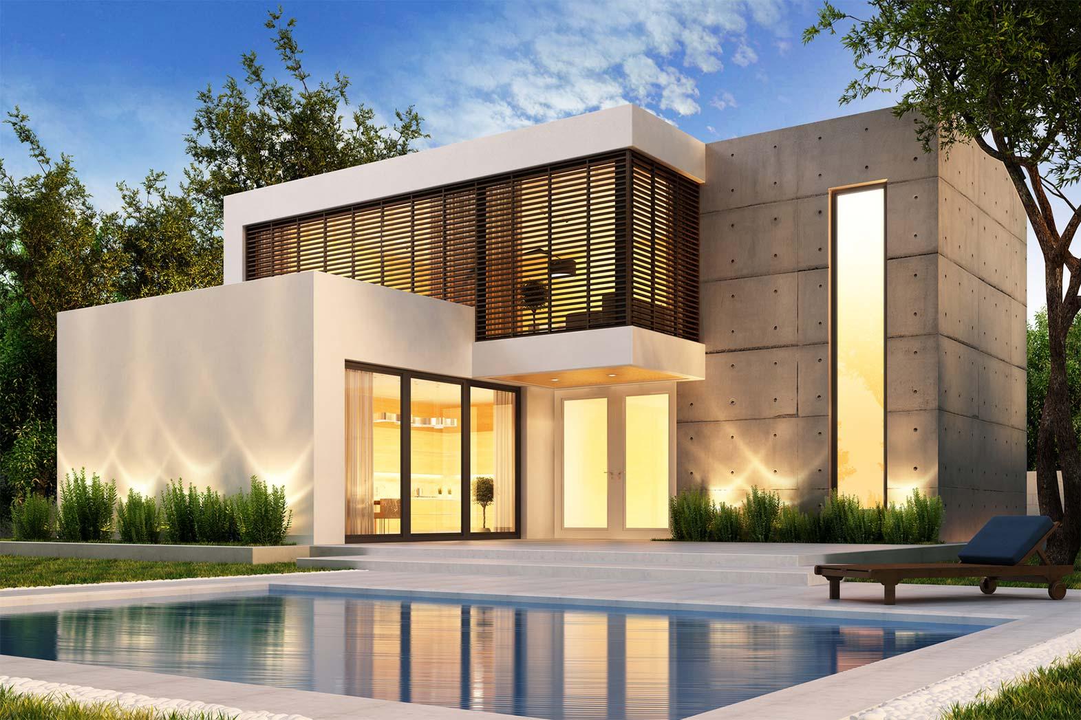 Modernes beleuchtetes Smarthome mit Pool und Garten